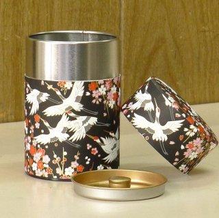 和紙缶・工芸缶 和紙茶缶 鶴(クロ)