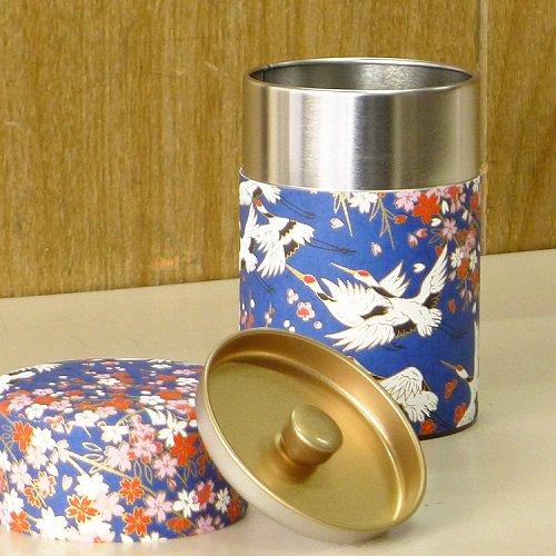 和紙茶缶 鶴(アオ)【画像2】