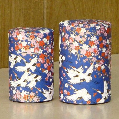和紙茶缶 鶴(アオ)【画像3】