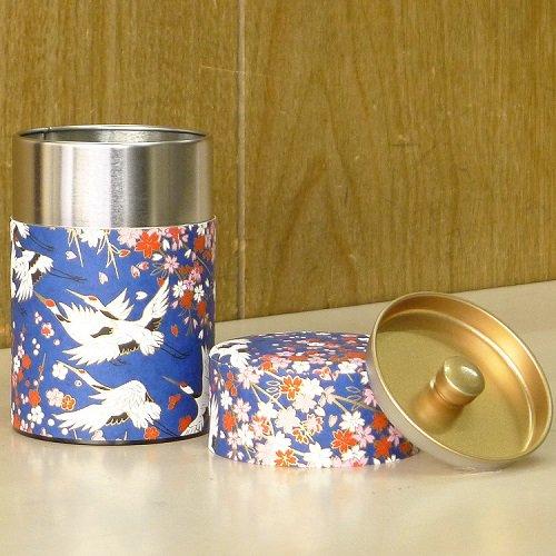 和紙茶缶 鶴(アオ)【画像4】