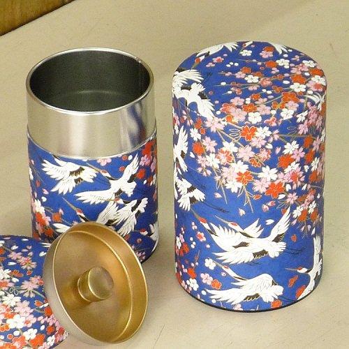 和紙茶缶 鶴(アオ)【画像5】