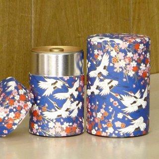 和紙缶・工芸缶 和紙茶缶 鶴(アオ)