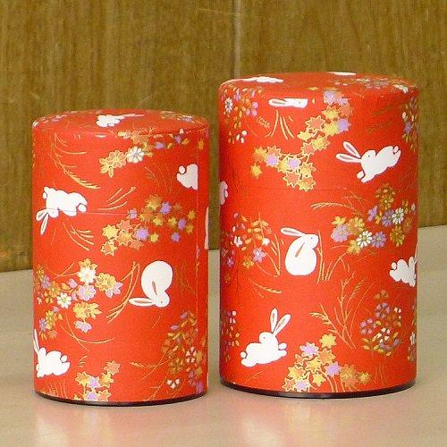 和紙茶缶 秋うさぎ(アカ)