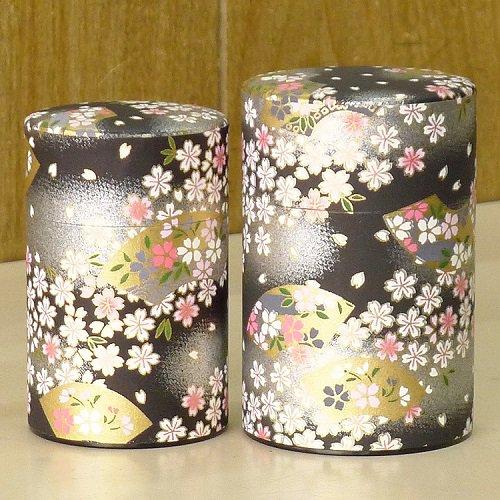和紙茶缶 扇桜(クロ)【画像2】