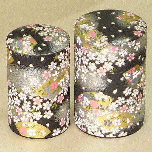 和紙茶缶 扇桜(クロ)【画像4】