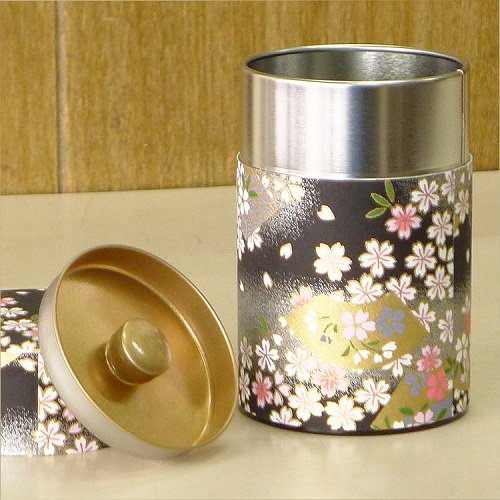 和紙茶缶 扇桜(クロ)【画像5】