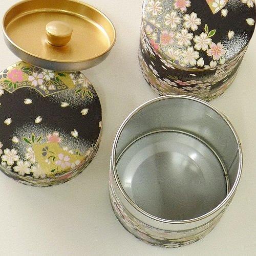和紙茶缶 扇桜(クロ)【画像6】