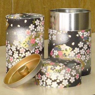 和紙缶・工芸缶 和紙茶缶 扇桜(クロ)