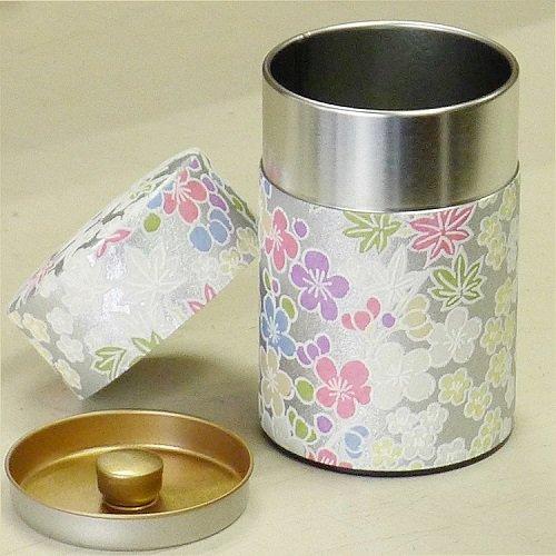 和紙茶缶 銀梅