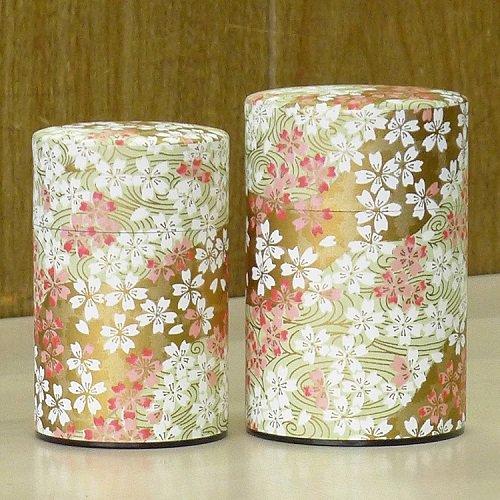 和紙茶缶 桜(薄ミドリ)