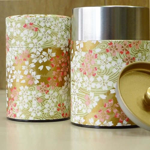 和紙茶缶 桜(薄ミドリ)【画像2】