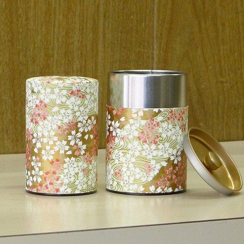 和紙茶缶 桜(薄ミドリ)【画像3】
