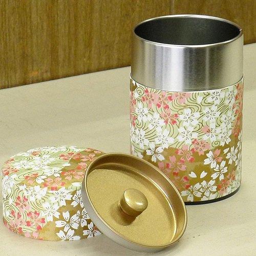 和紙茶缶 桜(薄ミドリ)【画像5】