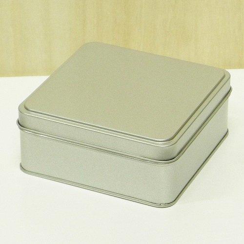銀サテン材 角缶 (正方形)