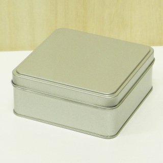 角缶 銀サテン材 角缶 (正方形)