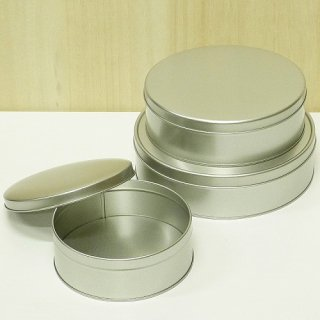 丸缶(平型) 銀サテン材 平丸缶