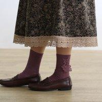 ウォッシャブルウールモチーフレース靴下