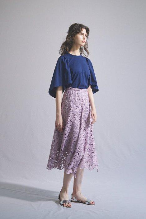 刺繍ケミカルレーススカート