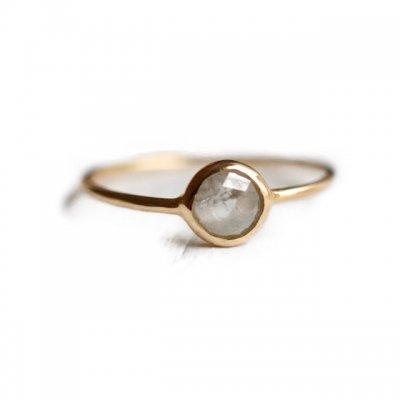 ローズカットナチュラルダイヤモンドリング Natural Diamond  - Clear grey