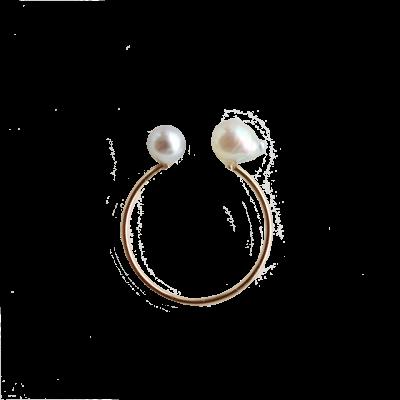 アコヤバロックパール ダブルリング Double Akoya Pearl ring baroque