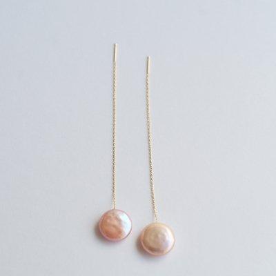 ロングピアス コインパール Coin pearl  long pierce pink