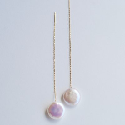 ロングピアス コインパール(W)Coin pearl  long pierce