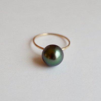 南洋黒蝶パールリング  Tahitian Pearl ring bt11