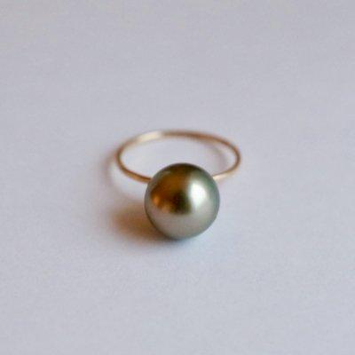 南洋黒蝶パールリング  Tahitian Pearl ring bp11