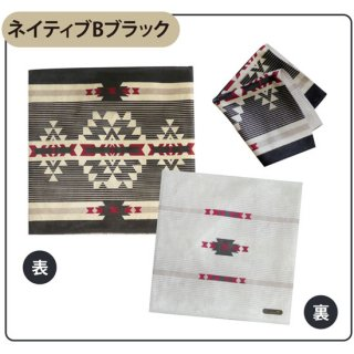 Native american patterns ネイティブ Bブラック タオルハンカチ(スマホクリーナー)【両面プリント/日本製】
