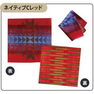 Native american patterns ネイティブ Cレッド タオルハンカチ(スマホクリーナー)【両面プリント/日本製】