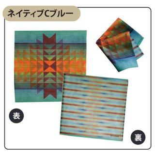 Native american patterns ネイティブ Cブルー タオルハンカチ(スマホクリーナー)【両面プリント/日本製】