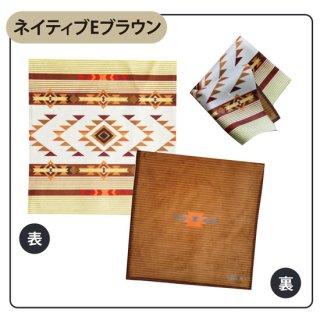 Native american patterns ネイティブ Eブラウン タオルハンカチ(スマホクリーナー)【両面プリント/日本製】