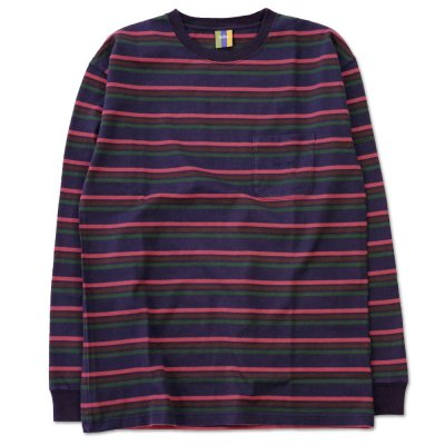 BEDLAM [STRIPE BORDER POCKET L/S TEE] (MULTI )