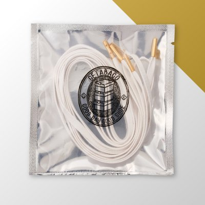 GETABACO [METAL TIP FLAT LACES] (WHITE/GOLD)