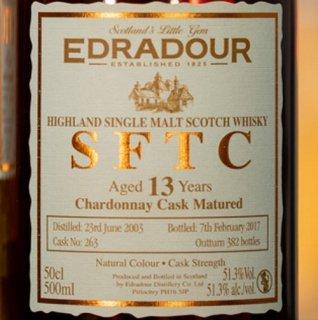 エドラダワー SFTC 13年[2003] シャルドネカスク・マチュアード