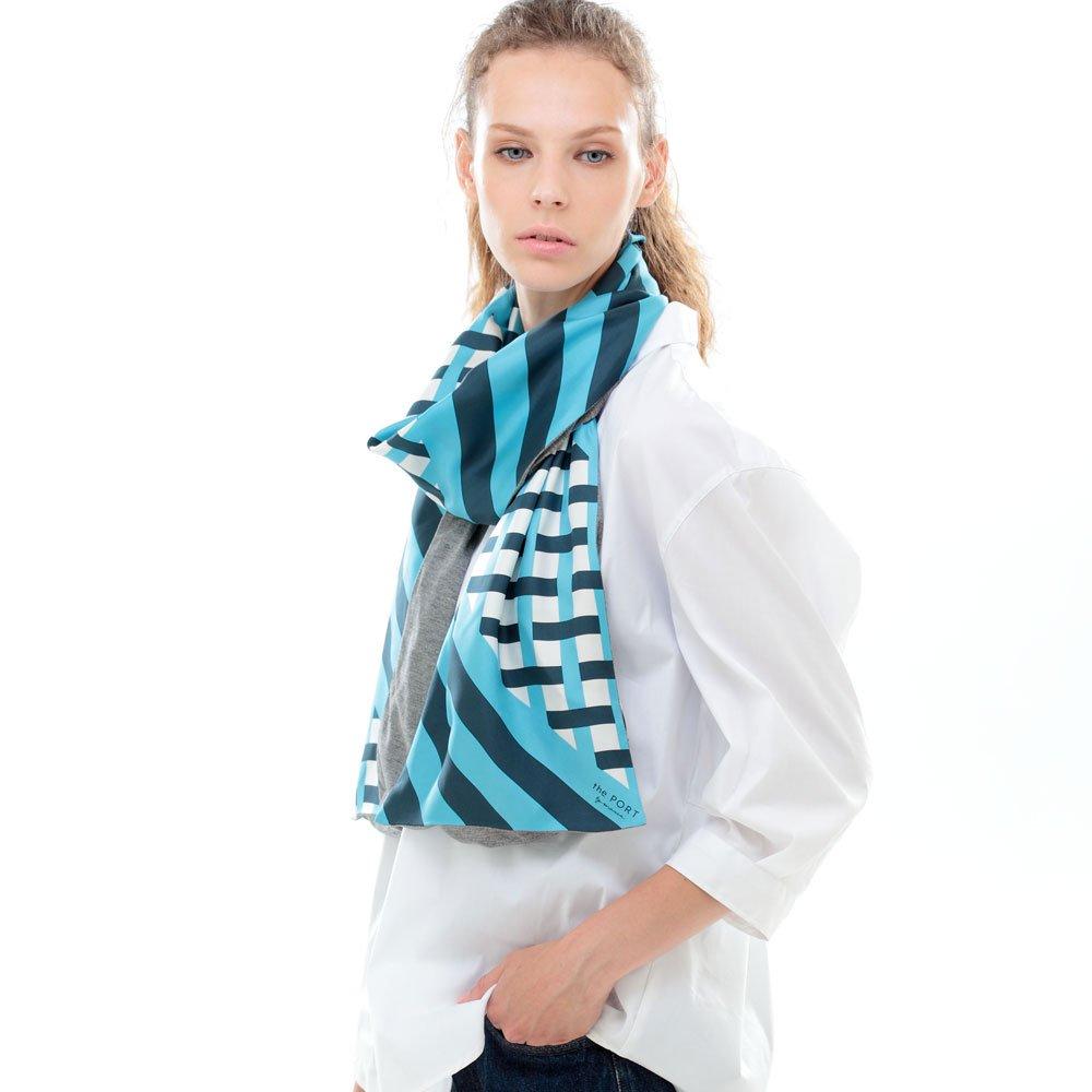 GRID CHECK(NGP-040) 【the PORT by marca】 シルクツイル+ジャージー袋合わせ ナロースカーフ