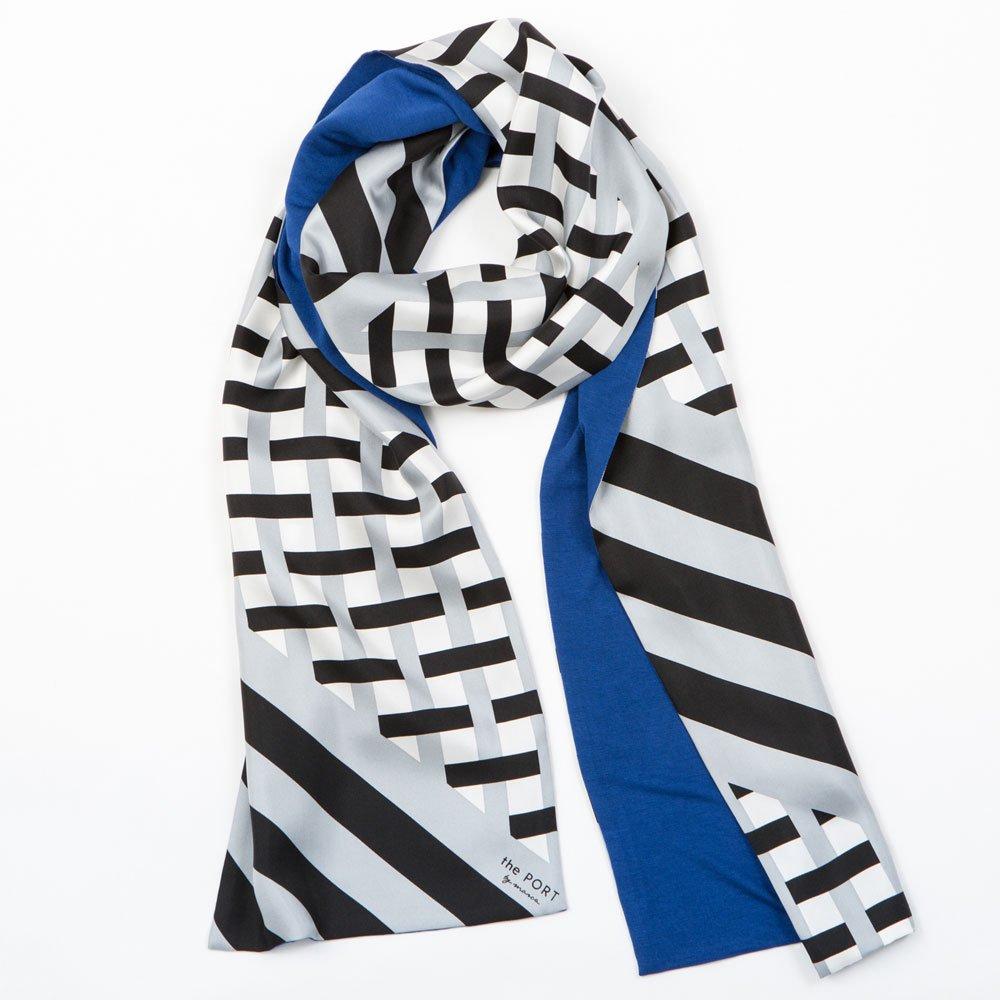 GRID CHECK(NGP-040) 【the PORT by marca】 シルクツイル+ジャージー袋合わせ ナロースカーフの画像7