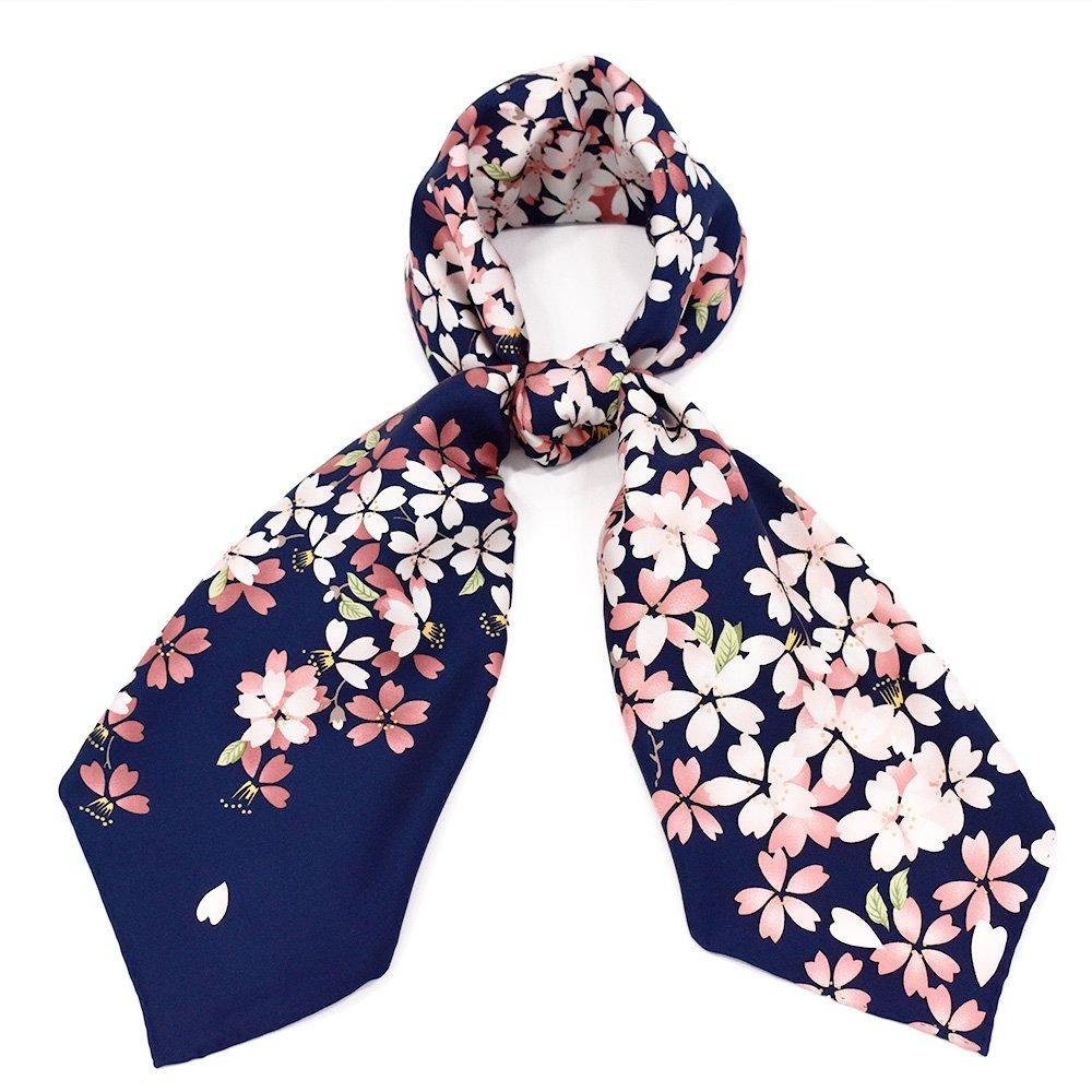 しだれ桜(CFD-021) 伝統横濱スカーフ 大判 シルクツイル スカーフの画像1