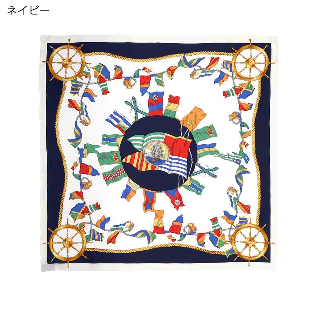 マリンフラッグ(CM3-279) Marcaオリジナル 大判 シルクツイル スカーフの画像3