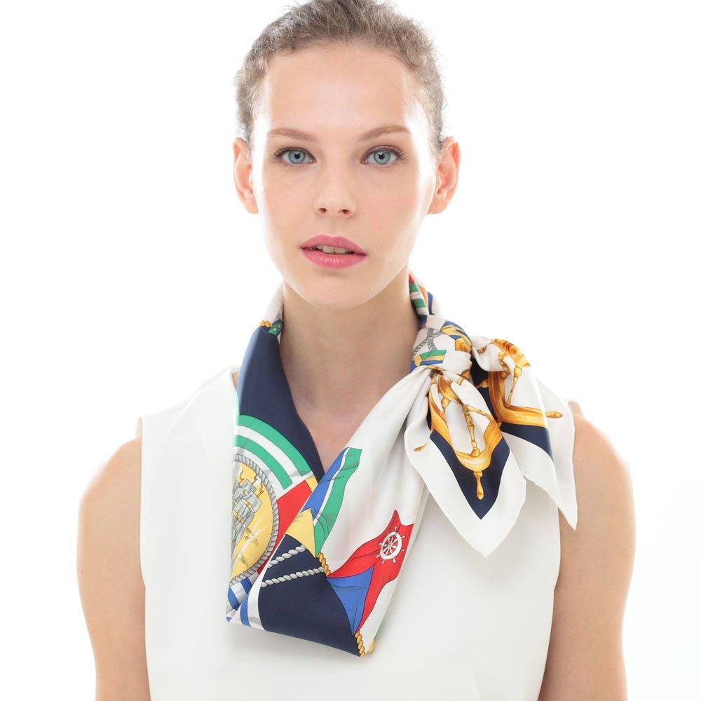 マリンフラッグ(CM3-279) Marcaオリジナル 大判 シルクツイル スカーフの画像6