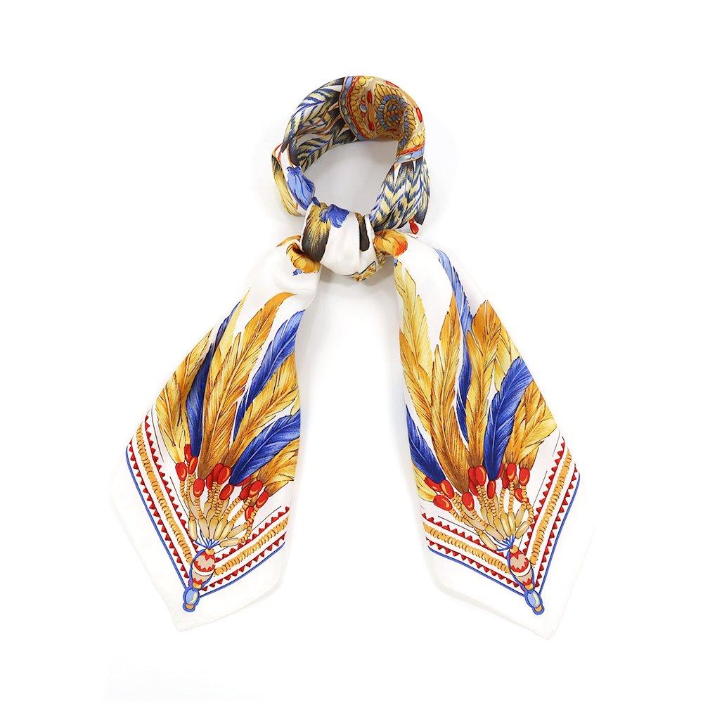 羽根飾り(CM5-156T) Marcaオリジナル 大判 シルクツイル スカーフの画像3