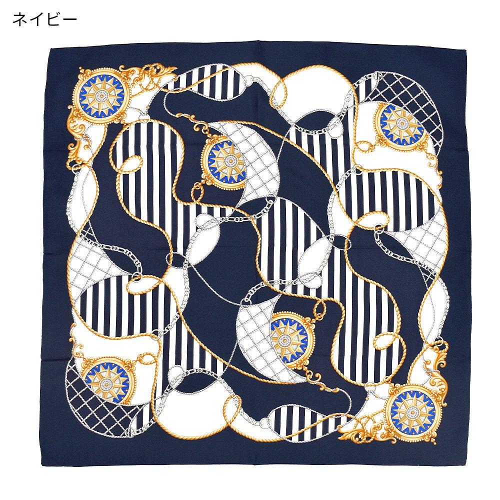 マリン&ロープ(CM5-001) Marcaオリジナル 大判 シルクツイル スカーフの画像2