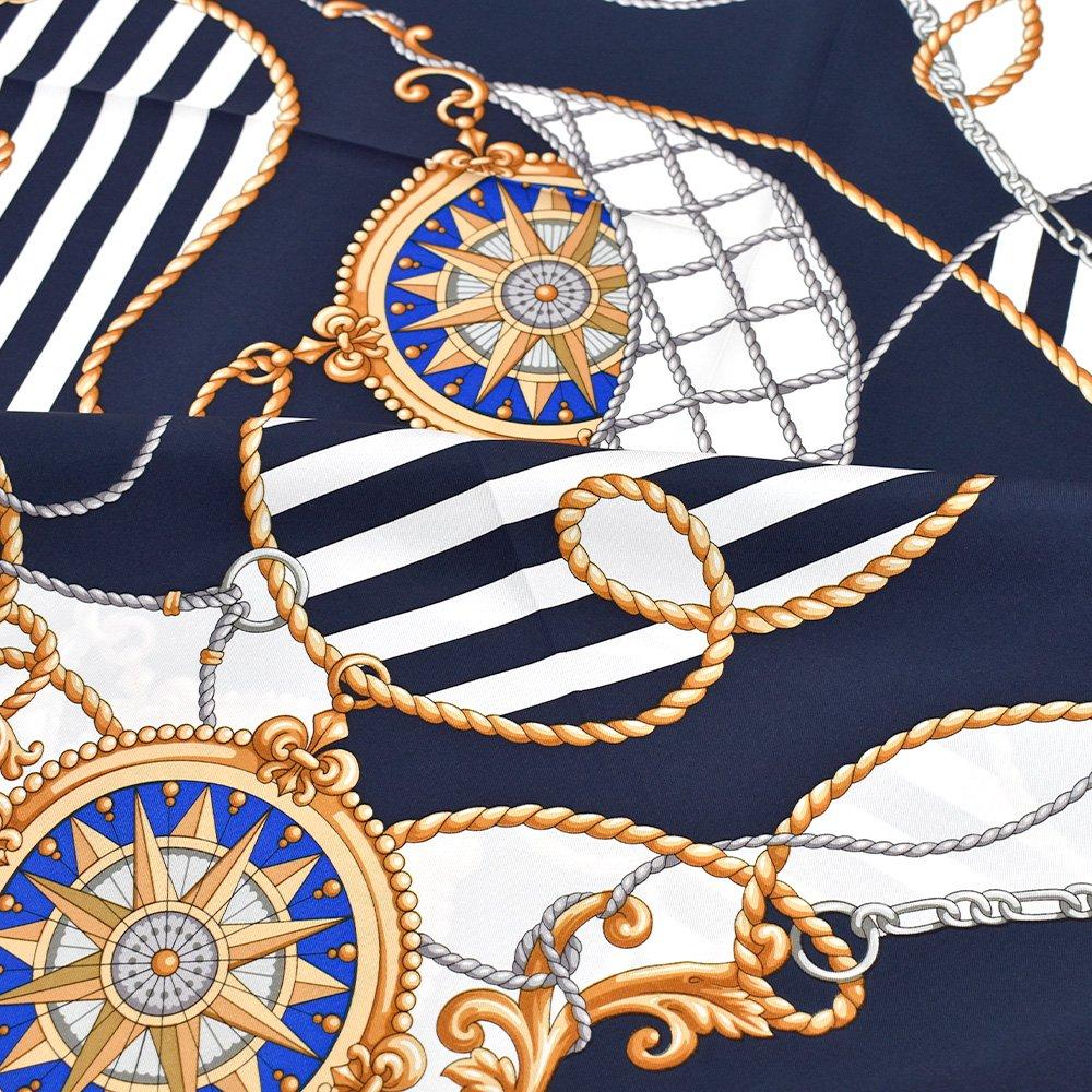 マリン&ロープ(CM5-001) Marcaオリジナル 大判 シルクツイル スカーフの画像3