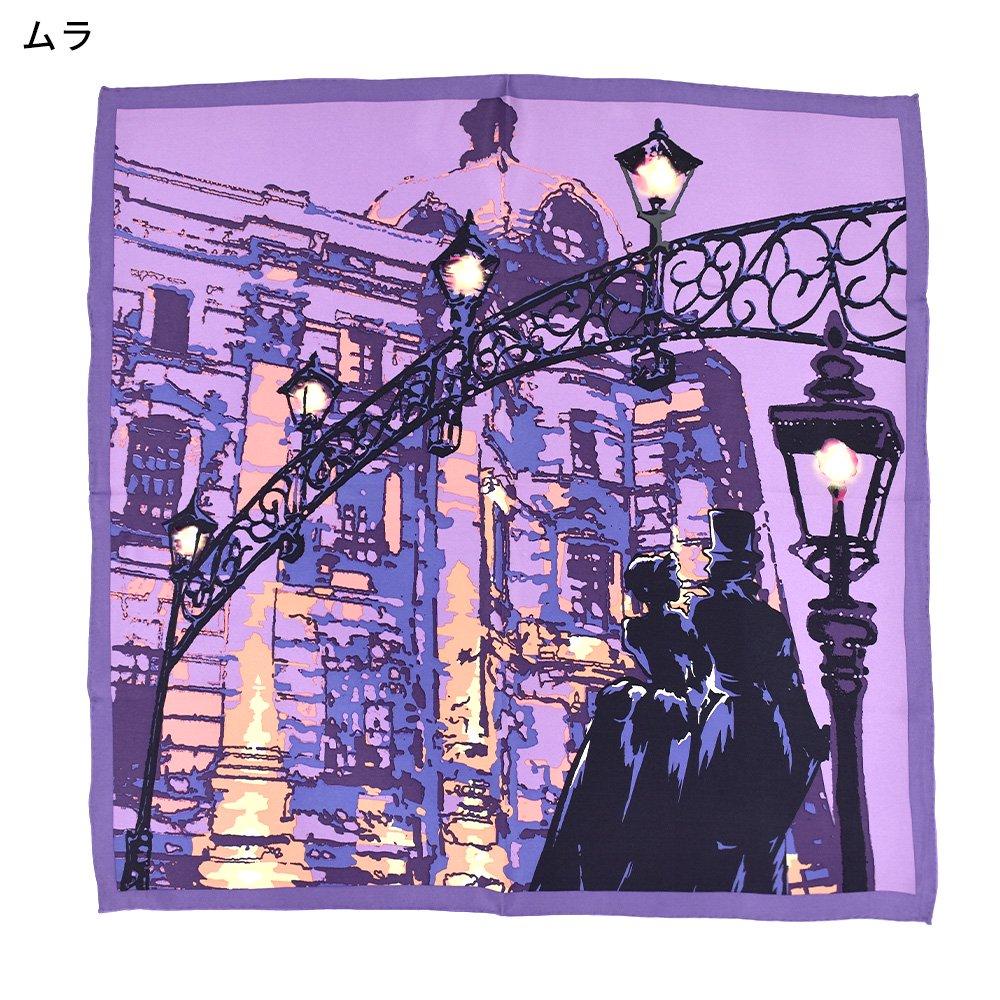 馬車道/ガス灯(FMH-227) 伝統横濱スカーフ 小判 シルクスカーフの画像2