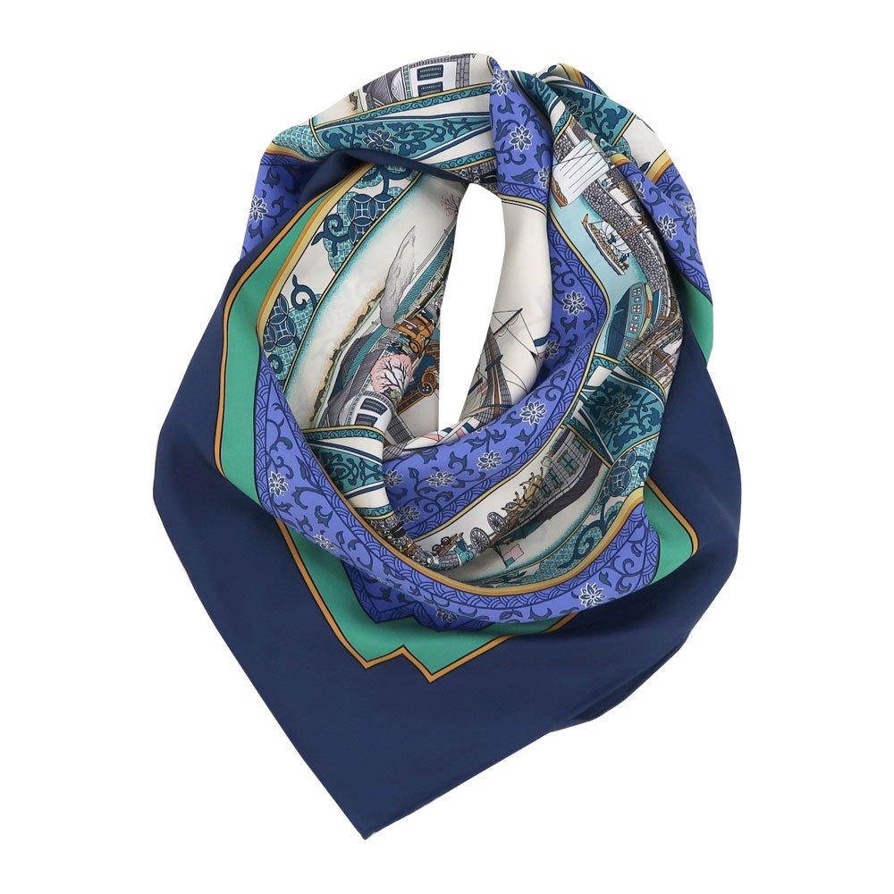 海岸通之図(CX1-910) 伝統横濱スカーフ 大判 シルクツイル スカーフの画像1