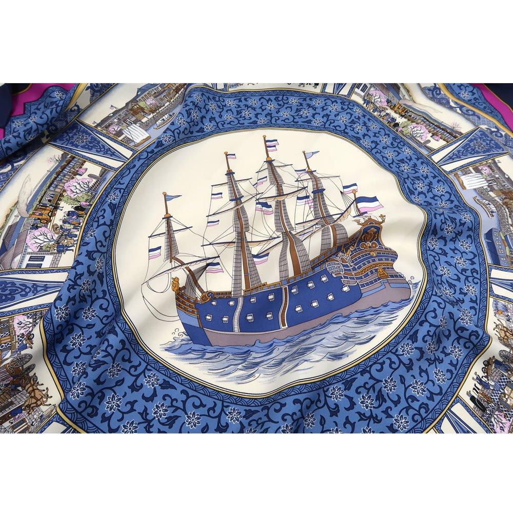 海岸通之図(CX1-910) 伝統横濱スカーフ 大判 シルクツイル スカーフの画像10