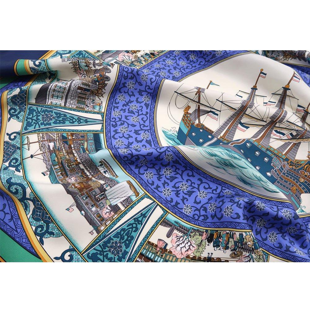 海岸通之図(CX1-910) 伝統横濱スカーフ 大判 シルクツイル スカーフの画像4