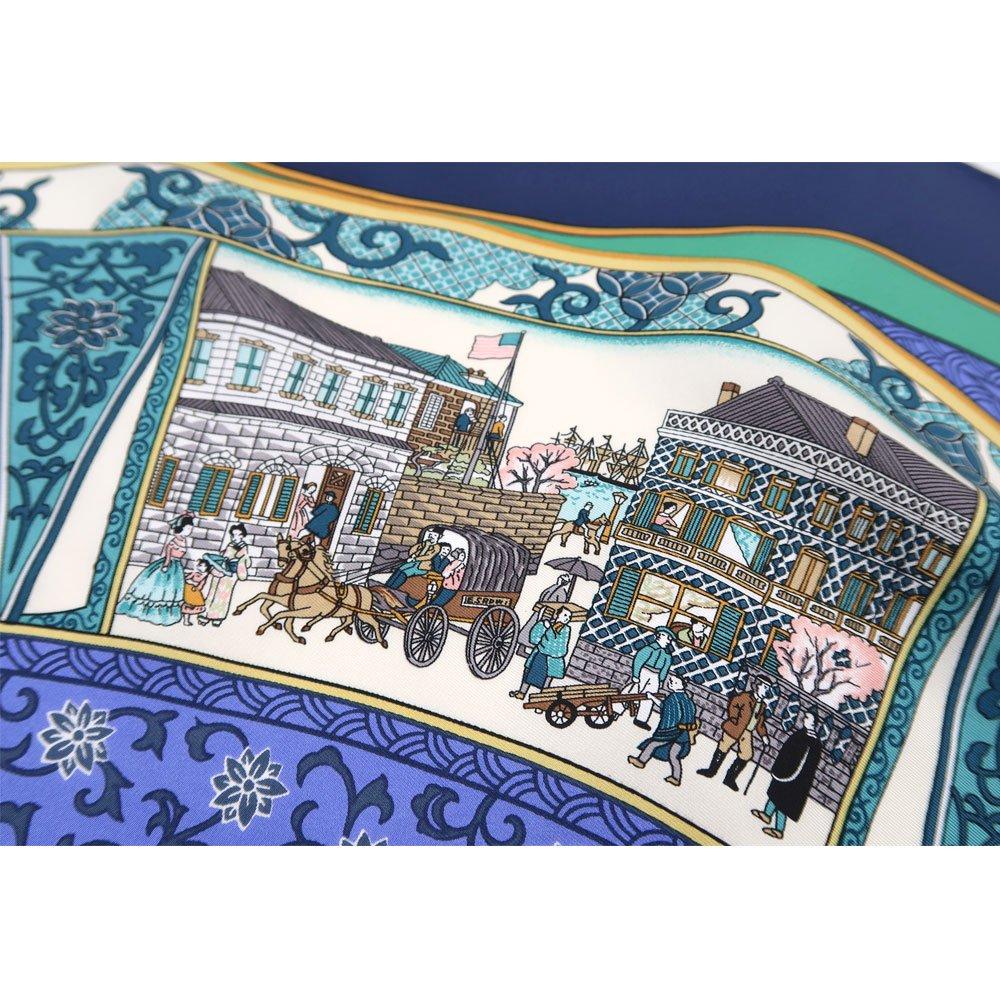 海岸通之図(CX1-910) 伝統横濱スカーフ 大判 シルクツイル スカーフの画像5