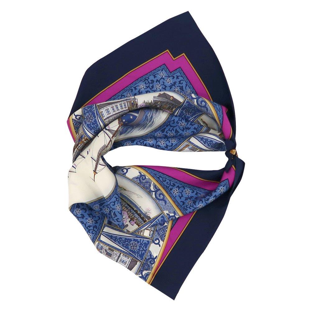 海岸通之図(CX1-910) 伝統横濱スカーフ 大判 シルクツイル スカーフの画像6