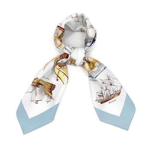 帆船パレード(CEE-226) 伝統横濱スカーフ 大判 シルクツイル スカーフ
